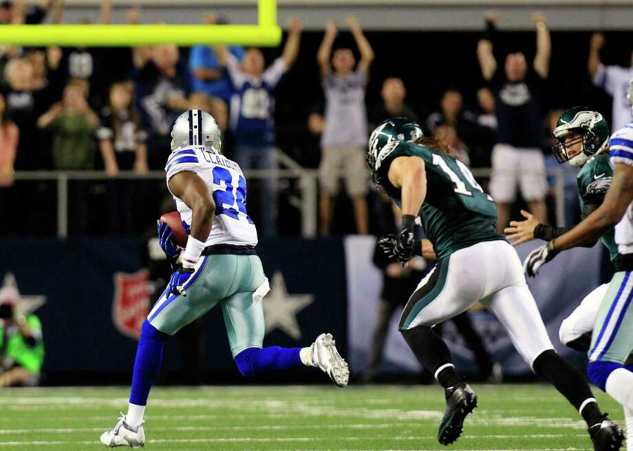 Dallas Cowboys cornerback Morris Claiborne (24) returns a fumble by Philadelphia Eagles running back Bryce Brown for a touchdown during the second half of an NFL football game, Sunday, Dec. 2, 2012, in Arlington, Texas. (AP Photo/LM Otero) Photo: LM Otero, Associated Press / AP