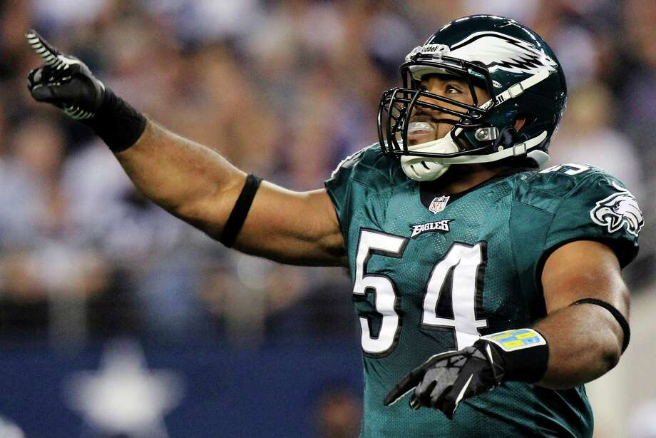 Philadelphia Eagles defensive end Brandon Graham gestures after sacking Dallas Cowboys quarterback Tony Romo during the first half of an NFL football game, Sunday, Dec. 2, 2012, in Arlington, Texas. (AP Photo/LM Otero) Photo: LM Otero, Associated Press / AP