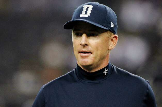 Dallas Cowboys head coach Jason Garrett watches his team warm up before an NFL football game against the Philadelphia Eagles, Sunday, Dec. 2, 2012 in Arlington, Texas. (AP Photo/Tony Gutierrez) Photo: Tony Gutierrez, Associated Press / AP