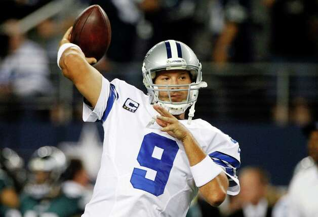 Dallas Cowboys quarterback Tony Romo (9) warms up before an NFL football game against the Philadelphia Eagles, Sunday, Dec. 2, 2012, in Arlington, Texas. (AP Photo/Tony Gutierrez) Photo: Tony Gutierrez, Associated Press / AP