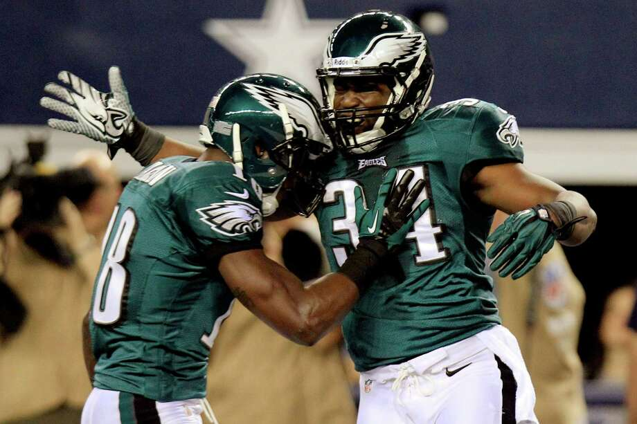 Philadelphia Eagles running back Bryce Brown (34) celebrates with Jeremy Maclin after scoring a touchdown against the Dallas Cowboys during the first half of an NFL football game, Sunday, Dec. 2, 2012, in Arlington, Texas. (AP Photo/LM Otero) Photo: LM Otero, Associated Press / AP
