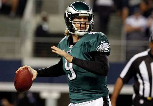 Philadelphia Eagles quarterback Nick Foles (9) passes the ball against the Dallas Cowboys during the first half of an NFL football game, Sunday, Dec. 2, 2012 in Arlington, Texas. (AP Photo/LM Otero) Photo: LM Otero, Associated Press / AP
