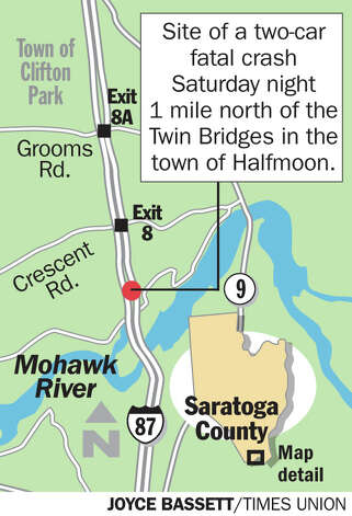 Site of a two-car fatal crash Saturday, one mile north of the Twin Bridges in the town of Halfmoon. By Joyce Bassett