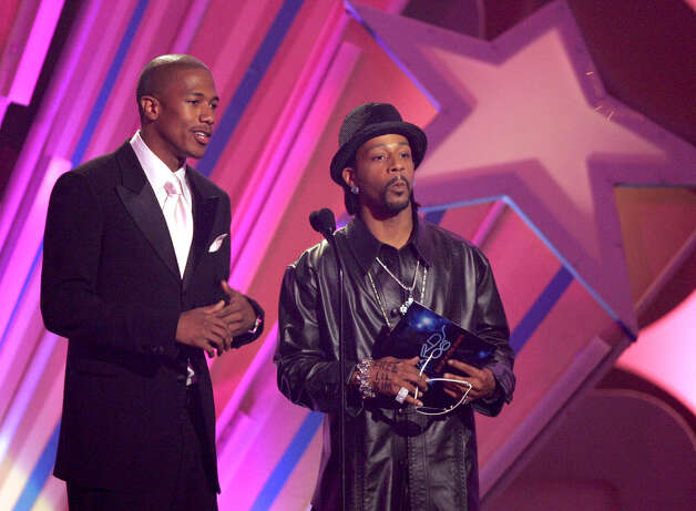 Actor Nick Cannon and Katt Williams present an award onstage at the 2006 BET Awards at the Shrine Auditorium on June 27, 2006, in Los Angeles, Calif. Photo: Frazer Harrison / Getty Images