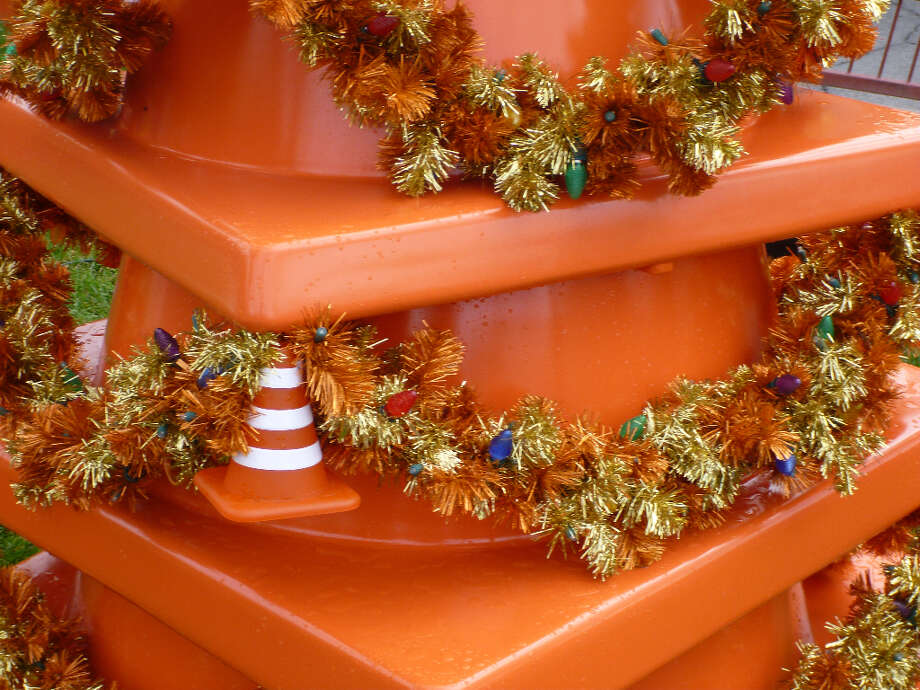 Christmas trees are made from cones and tinsel in Cars Land. (Anthony Falzone)