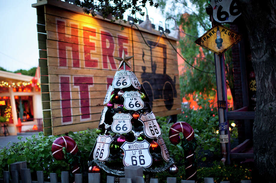 Route 66 signs adorn a Christmas tree in Cars Land. Photo: Paul Hiffmeyer / ©2012 Disneyland Enterprises, Inc. All Rights Reserved. For editorial news use only.