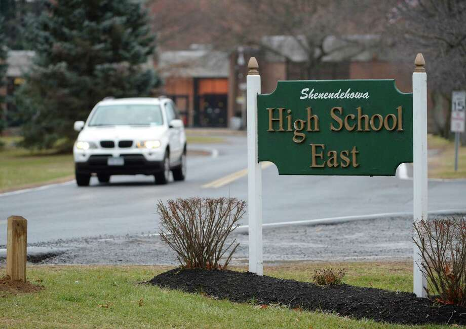 Shenendehowa High School on Monday morning, the first day of class since the deaths of two students who were killed Saturday night in a car crash on the Northway. (Skip Dickstein / Times Union) Photo: SKIP DICKSTEIN