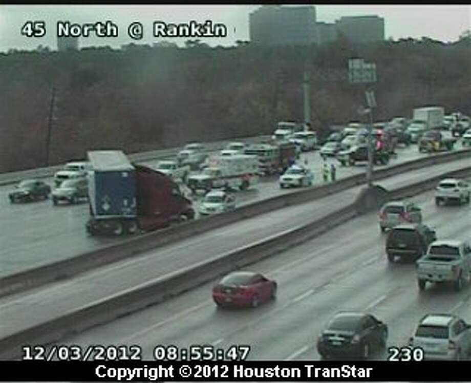 Traffic was snarled on the North Freeway in north Houston after a big-rig crash Monday morning. Photo: Houston Transtar