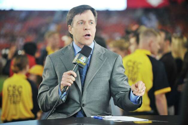 Bob Costas broadcasts before the NFL season opener between the Washington Redskins and the against the Dallas Cowboys at FedExField on September 12, 2010 in Landover, Maryland. The Redskins defeated the Cowboys 13-7. (Photo by Larry French/Getty Images) Photo: Getty, Stringer / 2010 Getty Images