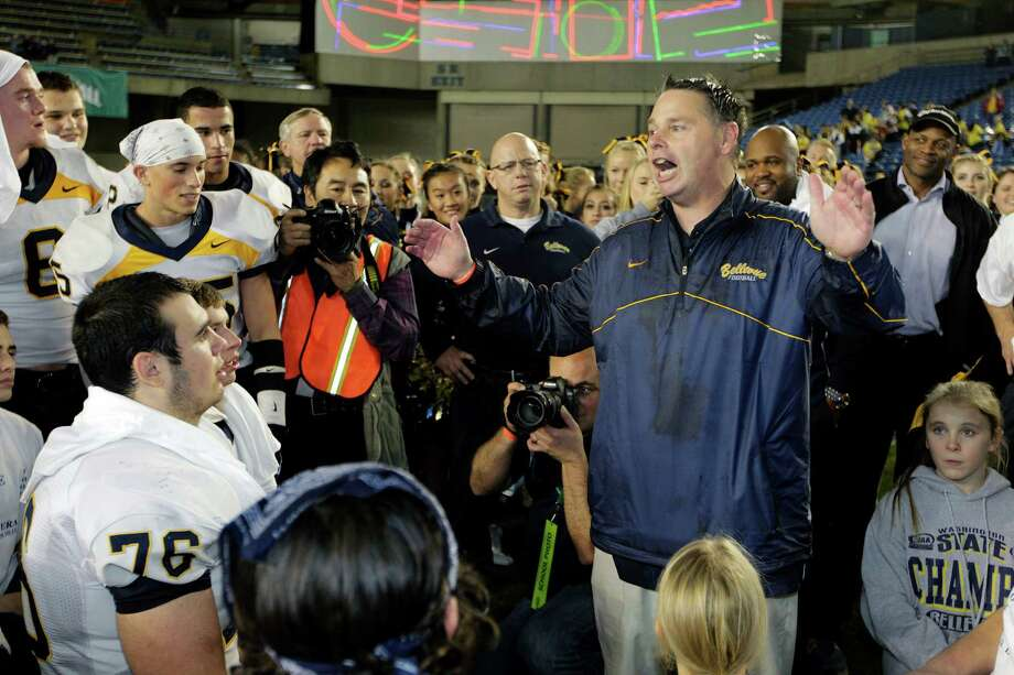 "Bellevue head coach Butch Goncharoff tells his players, ""If there's a better team in the country, let's go play them,"" after Bellevue beat Eastside Catholic 35-3 to win the 3A division high school state championship football game for the fifth consecutive time, Friday, Nov. 30, 2012, in Tacoma, Wash. Photo: Ted S. Warren / Associated Press"