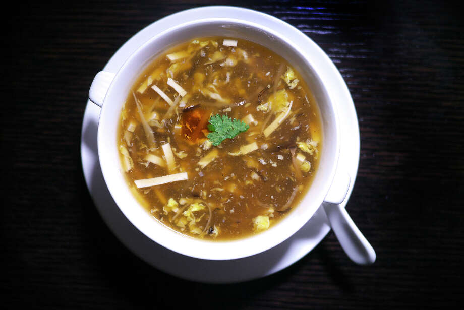 Hot and sour soup with chicken ($8)
