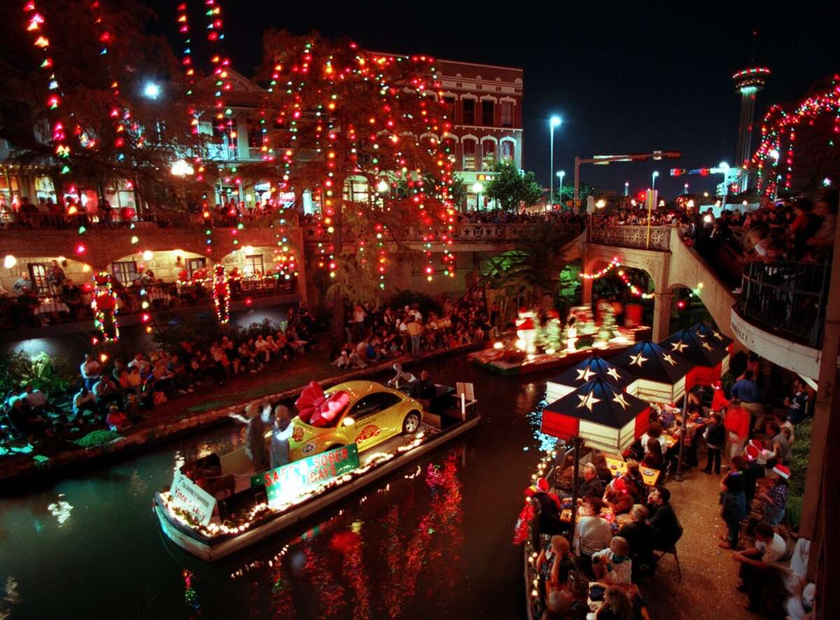 The incandescent lights on the River Walk in 1998.