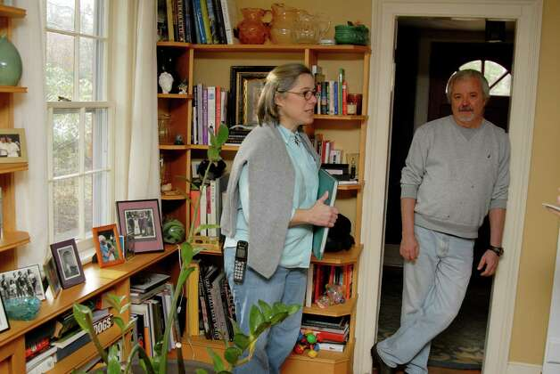 Col Stone and Ann Jasperson in their circa 1730's home on Haviland Rd in North Stamford, Conn. on Monday December 3, 2012. Photo: Dru Nadler / Stamford Advocate Freelance