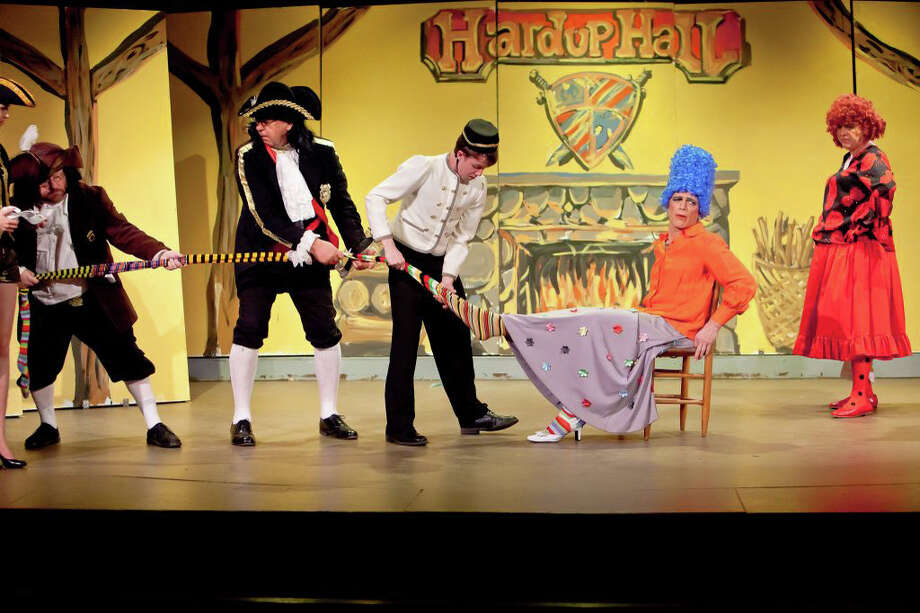 ìCinderellaî runs through Dec. 30 at the Sherman Playhouse. Left to right are Robin Frome, David Almquist, Tommy Ovitt as Buttons, Jeff Solomon, and Bruce Tredwell Photo: Contributed Photo