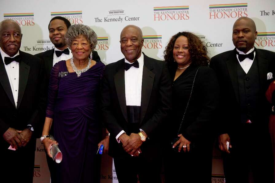 2012 Kennedy Center Honoree Blues guitarist Buddy Guy, center, arrives at the State Department with