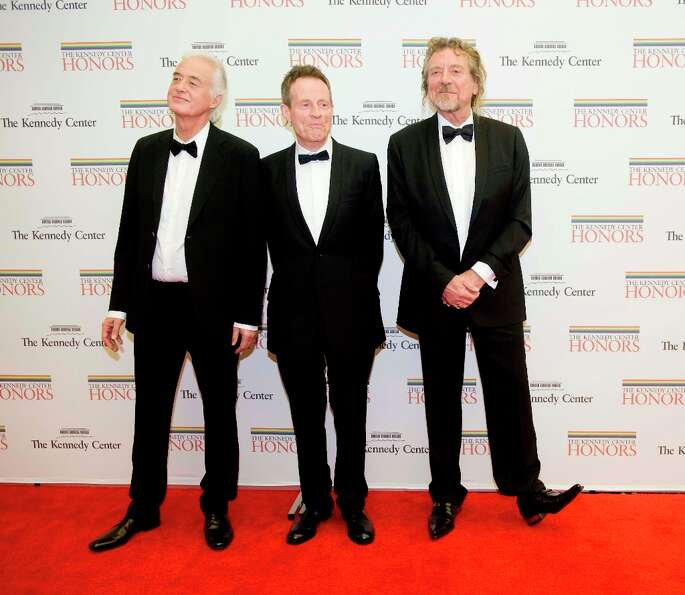 From left, 2012 Kennedy Center Honorees and members of Led Zepplin Jimmy Page, John Paul Jones, Robe