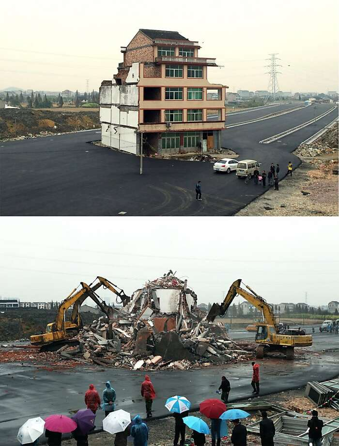 "This combo picture shows, before (top) and after, shows a couple of excavators tearing down the five-storey apartment building in the middle of a newly-built road in Wenling, in eastern China's Zhejiang province. Local authorities said that the house was bulldozed on December 1 after its owners, duck farmer Luo Baogen and his wife, agreed to accept compensation of 40,000 USD. The phenomenon is called a ""nail house"" in China, as such buildings stick out and are difficult to remove, like a stubborn nail. Photo: Str, AFP/Getty Images"