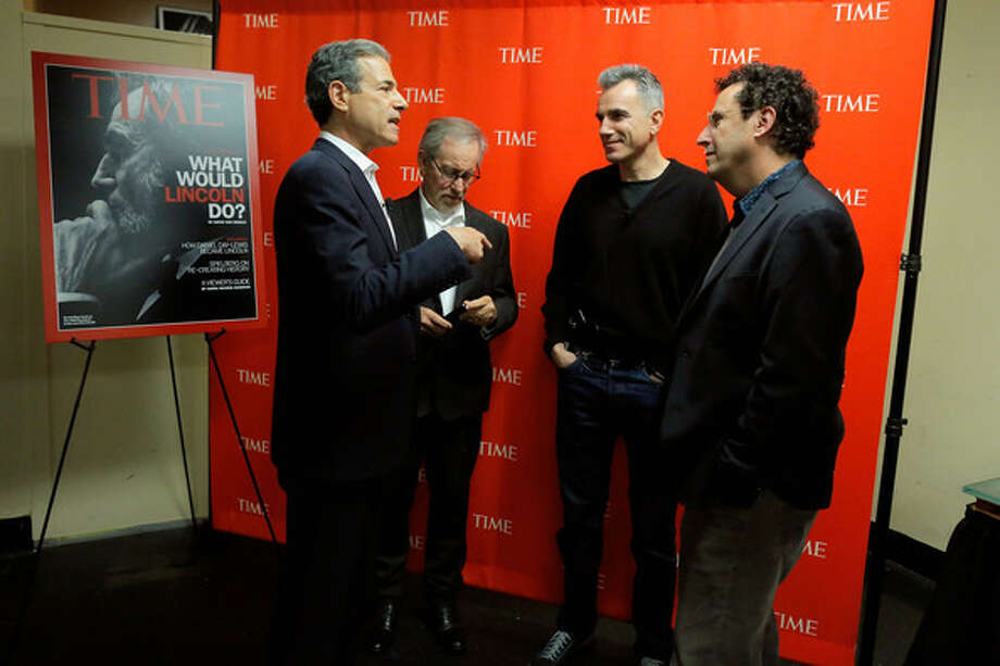 Tony Kushner, screenwriter of Lincoln (with managing editor of Time Rick Stengel, Steven Spielberg and Daniel Day-Lewis)