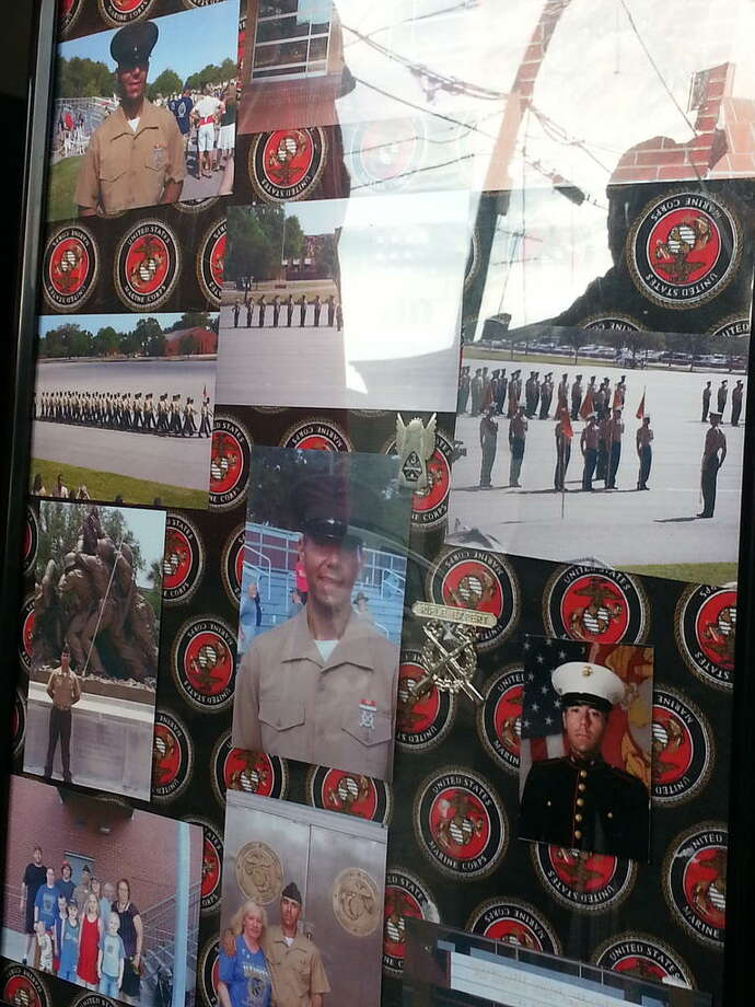 A picture collage of the late Marine Lance Cpl. Anthony Denier, 26, who was killed Saturday while serving in Afghanistan. (Dennis Yusko/Times Union)