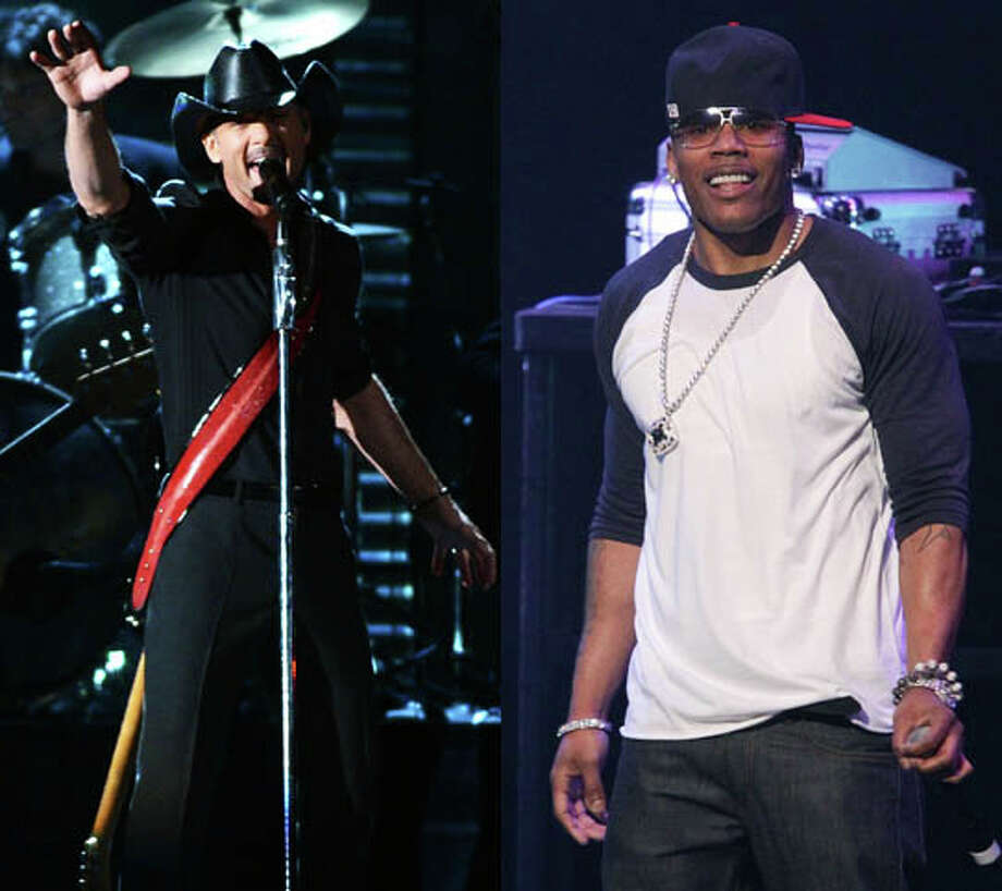 """Tim McGraw and Nelly scored a hit with """"Over And Over"""", which wasn't that bad at all. Photo: Jason Kempin/Getty And Noel Vasquez/Getty"""