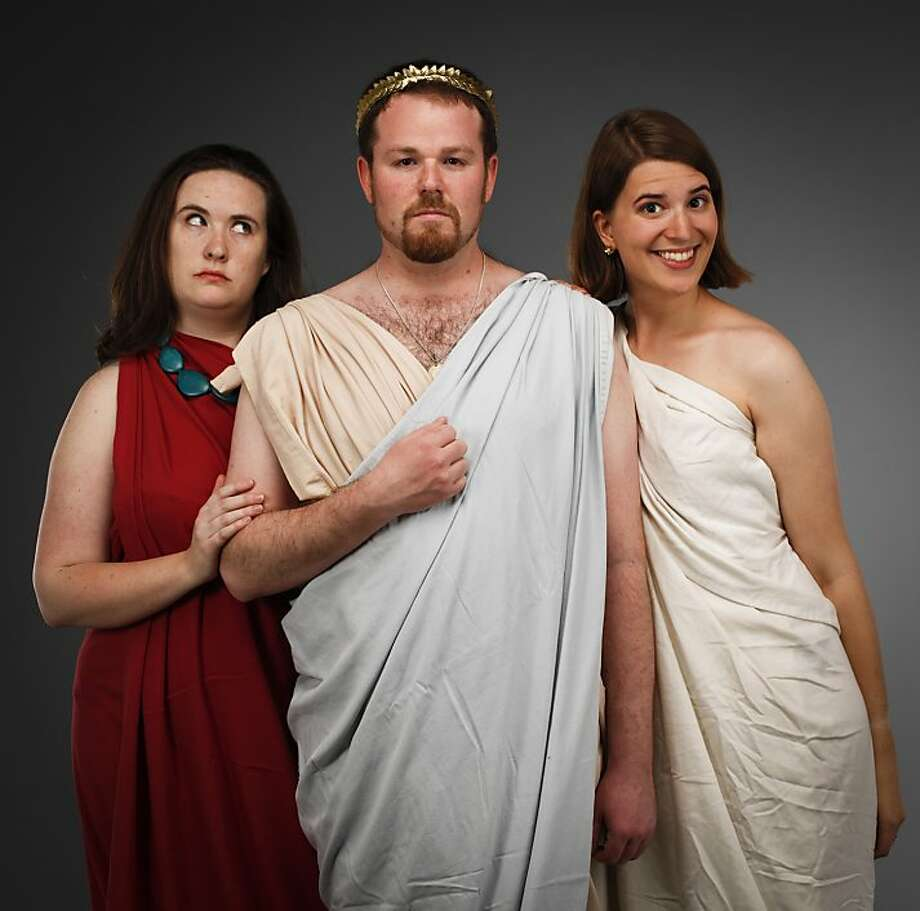 Claire Rice (left), Stuart Bousel and Marissa Skudlarek wrote or directed plays for the San Francisco Olympians Festival: Titans vs. Olympians, which is being staged at Exit Theatre this month. Photo: Russell Yip, The Chronicle