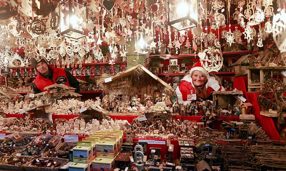 NUREMBERG, GERMANY - NOVEMBER 30:  Christmas decorations hang for sale at a stand at the traditional Christmas market 'Nuernberger Christkindlesmarkt' ahead of the opening ceremony on November 30, 2012 in Nuremberg, Germany. Originated in the 16th century the Nuremberg Christmas market is seen as one of the oldest of its kind in Germany. Photo: Johannes Simon, Getty Images