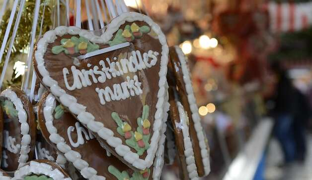 "Gingerbread hearts are for sale at a stand of the traditional Christmas Market in Nuremberg, southern Germany, on November 30, 2012. The traditional ""Nuernberger Christkindlesmarkt"" opens from November 30 to December 24, 2012. Photo: Christof Stache, AFP/Getty Images"