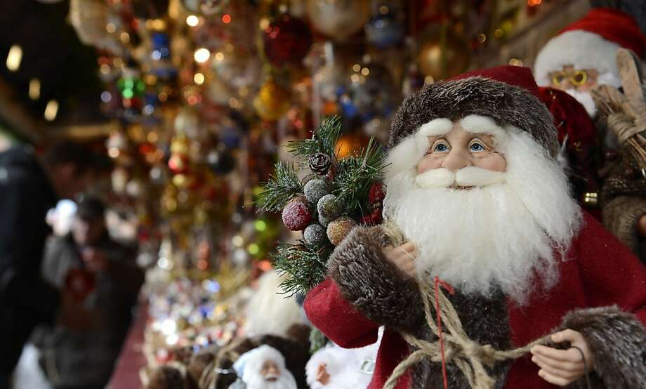 "Christmas decorations are for sale at a stand of the traditional Christmas Market in Nuremberg, southern Germany, on November 30, 2012. The traditional ""Nuernberger Christkindlesmarkt"" opens from November 30 to December 24, 2012. Photo: Christof Stache, AFP/Getty Images"