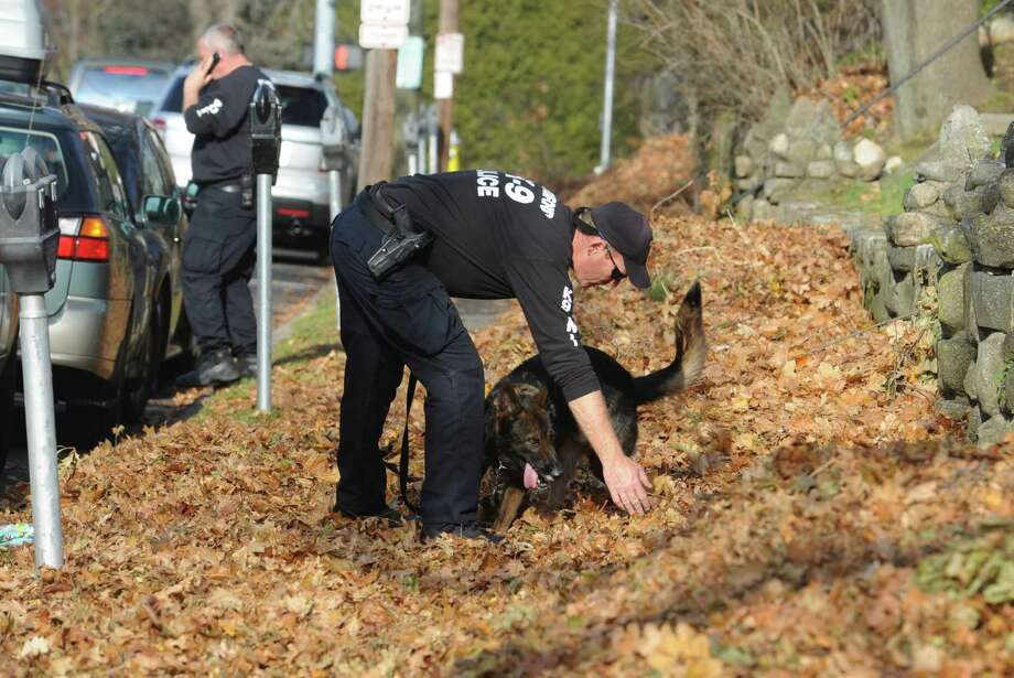 Stamford Officer of the K-9 Unit, Mark Tymon, works with his dog K-9, Titan, after a suspect fled the scene of a noontime attempted residential break-in at 305 Millbank Ave., in Greenwich, Conn., Monday Dec. 3, 2012. The Stamford Police K-9 unit was brought in to help Greenwich Police. Photo: Helen Neafsey / Greenwich Time
