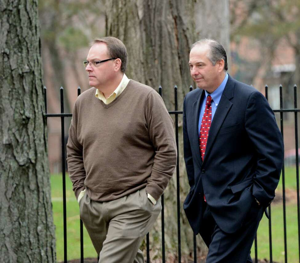 Edward McDonough, left accompanied by his lawyer Brian Premo as returns to Rensselear County Court in Troy, N.Y. Dec 3, 2012 for the continuation of his ballot fraud case (Skip Dickstein/Times Union)