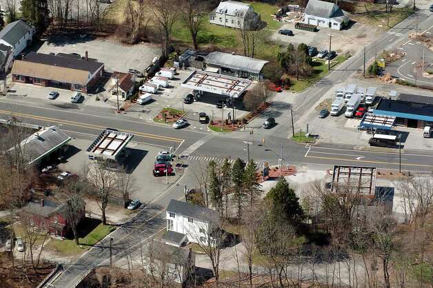 The Four Corners, in Brookfield, Conn.  in this file photo taken from the air. Photo: Chris Ware
