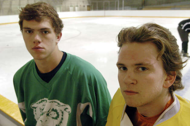 The Brunswick hockey team captains Gryphon Richardson, right, and Peter Khoury at Hartong Rink in Greenwich, Conn., Dec. 2, 2012. Photo: Keelin Daly / Stamford Advocate Riverbend Stamford, CT