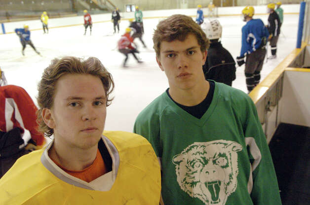 The Brunswick hockey team captains Gryphon Richardson, left, and Peter Khoury at Hartong Rink in Greenwich, Conn., Dec. 2, 2012. Photo: Keelin Daly / Stamford Advocate Riverbend Stamford, CT