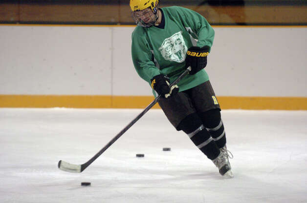 The Brunswick hockey team captain Peter Khoury on the ice at Hartong Rink in Greenwich, Conn., Dec. 2, 2012. Photo: Keelin Daly / Stamford Advocate Riverbend Stamford, CT