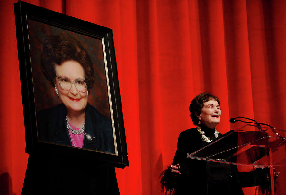 Mayor emeritus Lila Cockrell addresses an audience beside a newly-made portrait as the City of San Antonio celebrates the rededication of the Lila Cockrell Theatre with guest of honor Cockrell also celebrating her 89th birthday on Wednesday, Jan. 19, 2011. Several hundred guests attended the event at the theater which underwent a $26 million renovation.  Photo: KIN MAN HUI, SAN ANTONIO EXPRESS-NEWS / San Antonio Express-News