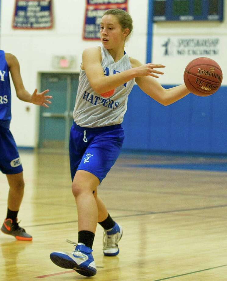 Rebecca Gartner passes the ball during a Danbury High School girls basketball practice. Monday, dec. 3, 2012 Photo: Scott Mullin / The News-Times Freelance