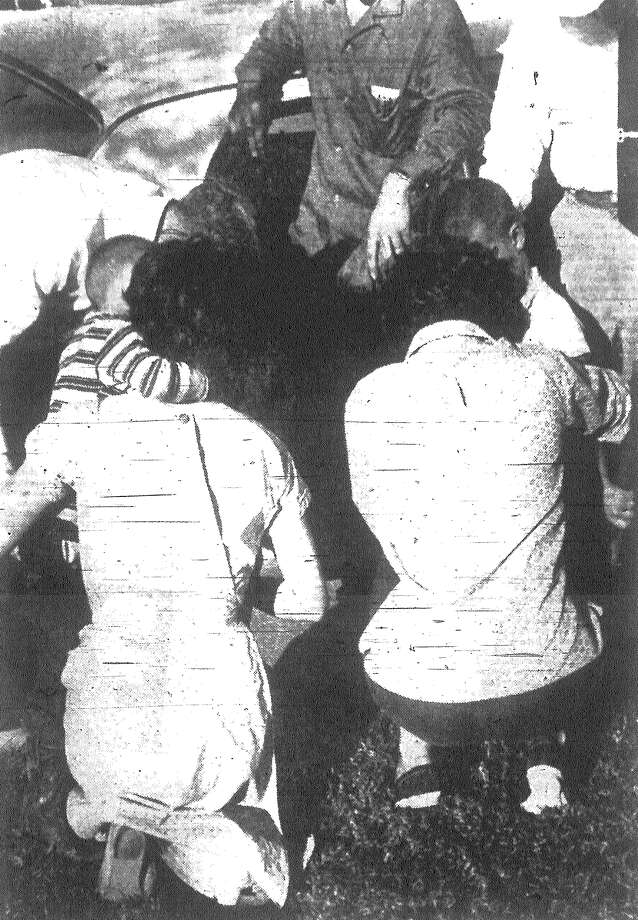 Two happy mothers, who went through some agonizing hours Monday when their boys disappeared, hug youngsters after they were brought in by a big searching party that spent hours looking for them. The mothers are Mrs. Duane E. Oyler and Mrs. W.C. McLaughlin Jr. Published in the San Antonio News Dec. 4, 1962. Photo: File Photo