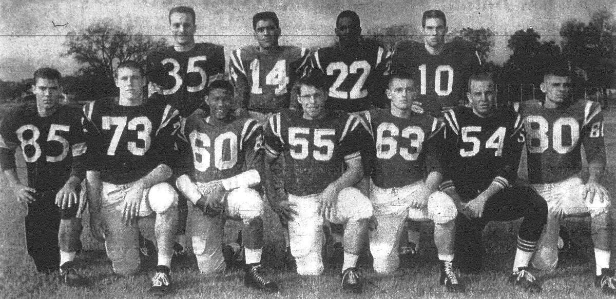 This is the All-City football team chosen from San Antonio high school players by the Express-News sports staff. Front row, left to right, are Larry Thurmond, Harlandale; George Gaiser, Jefferson; Douglas Coffee, Brackenridge; Dennis Barco, John Marshall; Eddie Tisdale, Highlands; Bill McAllister, South San Antonio; and Gary Hill, Sam Houston. Back row: Bob Williamson, Harlandale; Victor Castillo, Brackenridge; James Jefferson, Jefferson; and Linus Baer, Robert E. Lee. Published in the San Antonio Express Dec. 1, 1962.