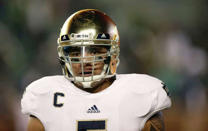 Notre Dame linebacker Manti Te'o looks on during the second half of Notre Dame's 21-6 win over Bosto