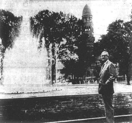 "Mayor Walter Williams McAllister stands in front of the ""dancing waters"" fountain in Main Plaza, which was dedicated last week. McAllister was named Don Politico's ""Politician of the Year."" Published in the San Antonio Light Dec. 30, 1962. Photo: File Photo"