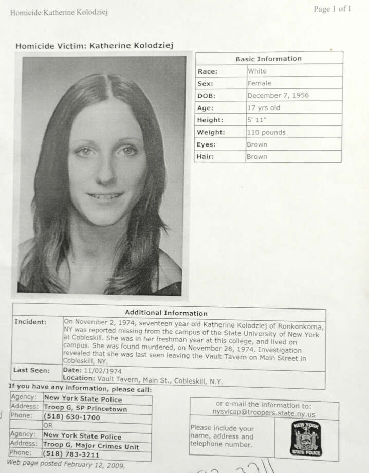Case information sheet on Homicide Victim Katherine Kolodziej at Princetown State Police Station in Schenectady, NY on December 29, 2010.  (Lori Van Buren / Times Union) Photo: Lori Van Buren