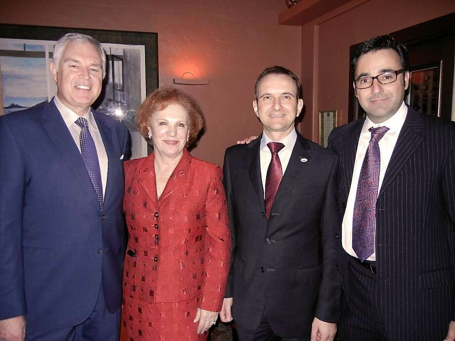 Acquerello owner Giancarlo Paterlini (left), Romana Bracco, Italian Consul General Mauro Battocchi and S.F.-Assisi Sister City Committee Chairman Richard Armanino. Photo: Catherine Bigelow, Special To The Chronicle