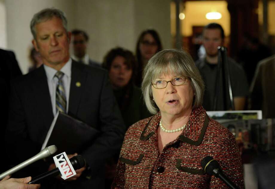 Assemblywoman Barbara Lifton of Ithaca speaks to the media during a press conference on tracking held at the State Capitol in Albany, N.Y. Dec 3, 2012  (Skip Dickstein/Times Union) Photo: SKIP DICKSTEIN
