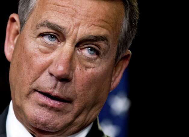 "FILE - This Nov. 29, 2012 file photo shows House Speaker John Boehner of Ohio speaking to reporters on Capitol Hill in Washington. House Republicans negotiating with President Barack Obama on avoiding the so-called fiscal cliff are proposing to increase the eligibility age for Medicare and to lower cost-of-living hikes in Social Security benefits. Boehner said the GOP proposal is a ""credible plan"" for Obama and that he hopes the administration would ""respond in a timely and responsible way."" (AP Photo/J. Scott Applewhite, File) Photo: J. Scott Applewhite"