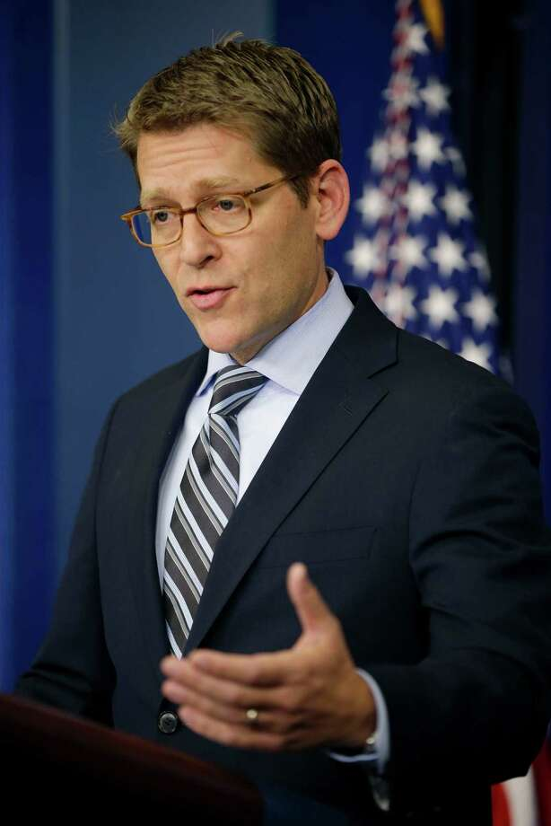 White House Press Secretary Jay Carney gestures during his daily news briefing at the White House in Washington, Monday, Dec., 3, 2012. (AP Photo/Pablo Martinez Monsivais) Photo: Pablo Martinez Monsivais