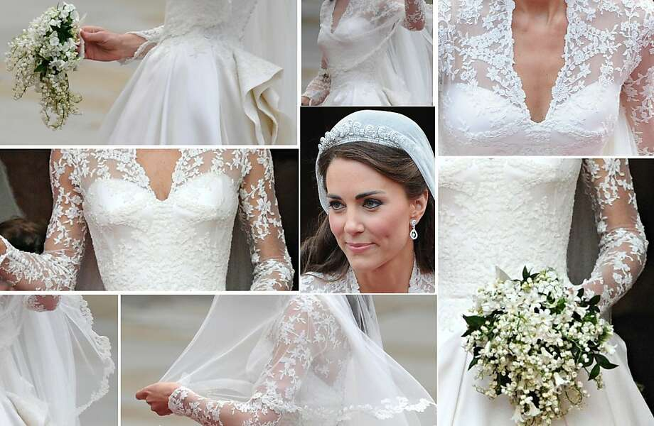 A combo of images showing Kate, Duchess of Cambridge's wedding dress and jewellery as she steps out of Westminster Abbey in London, after marrying Britain's Prince William on April 29, 2011. Photo: -, AFP/Getty Images