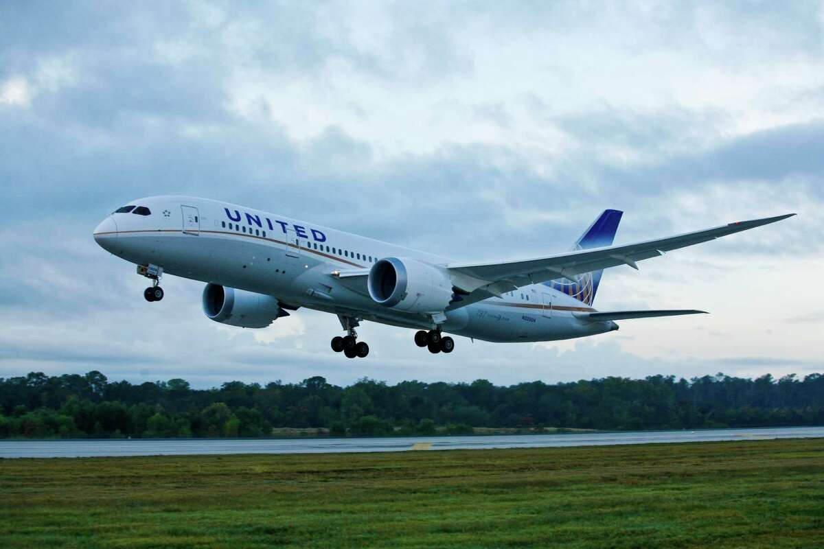 United Airlines - the North American launch customer for the Boeing 787 -flew its first scheduled commercial 787 flight from Houston to Chicago, with more than 200 customers on board Nov. 4, 2012 in Houston at Bush International Airport.
