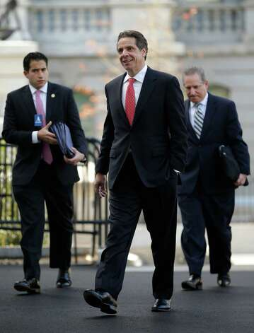 New York Gov. Andrew Cuomo arrives at the West Wing of the White House in Washington, Monday, Dec. 3, 2012, for a scheduled meeting with White House officials. (AP Photo/Pablo Martinez Monsivais) Photo: Pablo Martinez Monsivais