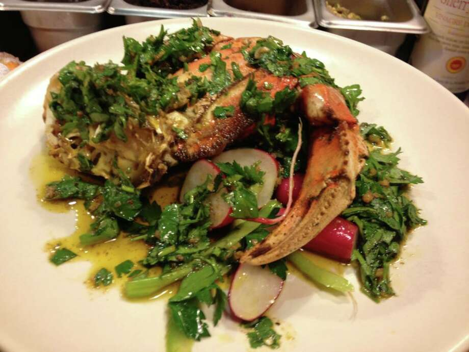 Mill Valley Beerworks: Dungeness crab with charmoula, radish, celery and parsley.