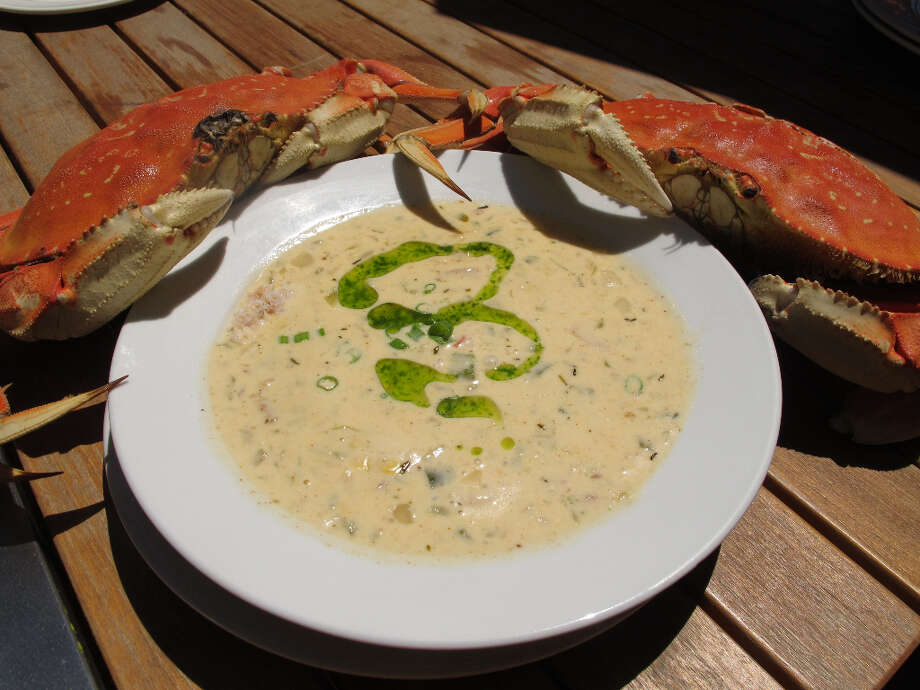 Blue Mermaid: Dungeness crab and corn chowder.